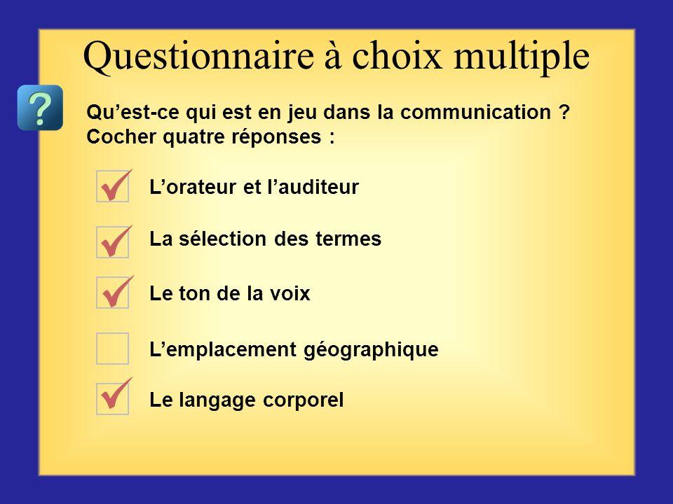 Questionnaire sur la communication Commencer par la première question ou choix se trouvant sur la gauche, puis cliquer sur la réponse qui vous semble