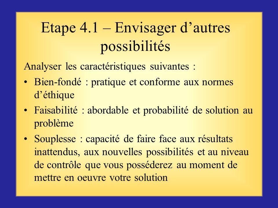 Etape 3 – Concevoir des solutions alternatives Envisager le problème sous un regard différent, avec une autre perspective Réfléchir activement à dautr