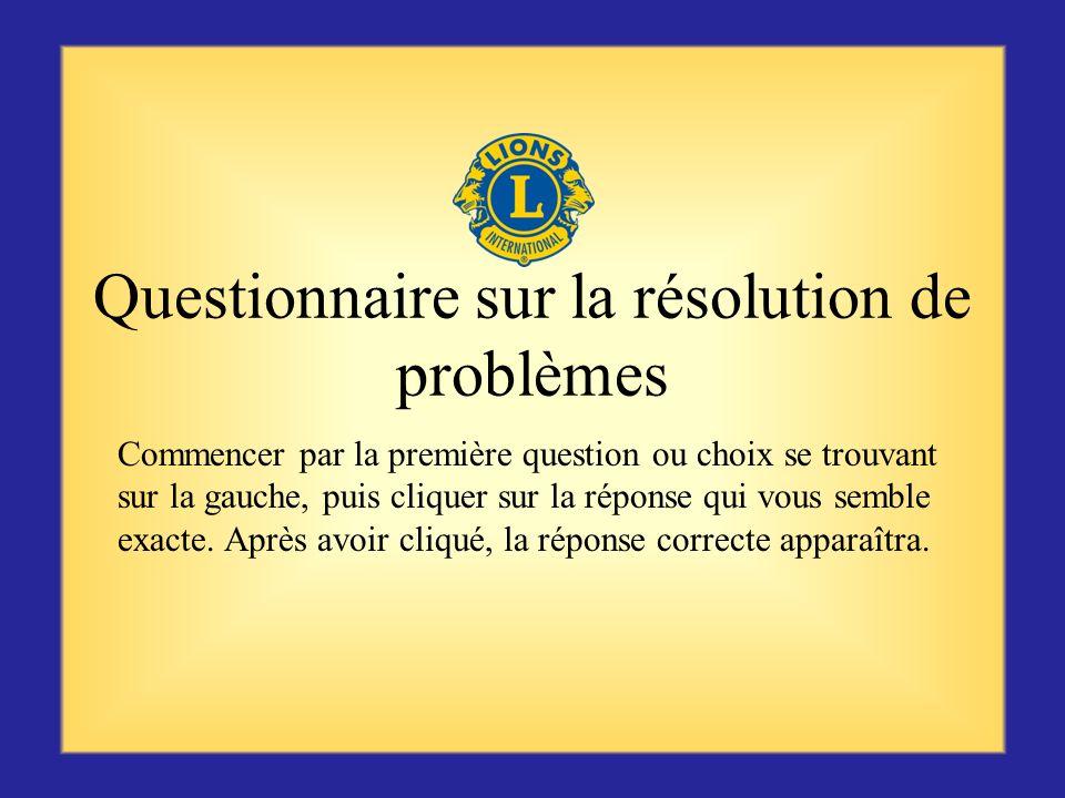 Résumé La résolution des problèmes constitue une compétence essentielle pour un président de zone. Ne pas oublier de résoudre le problème le plus vite