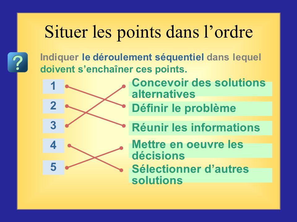 Questionnaire sur la résolution de problèmes Commencer par la première question ou choix se trouvant sur la gauche, puis cliquer sur la réponse qui vo