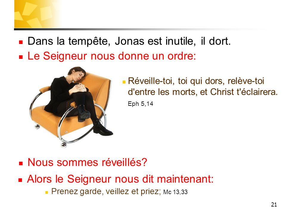 21 Dans la tempête, Jonas est inutile, il dort. Le Seigneur nous donne un ordre: Réveille-toi, toi qui dors, relève-toi d'entre les morts, et Christ t