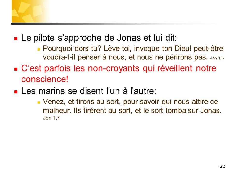 22 Le pilote s'approche de Jonas et lui dit: Pourquoi dors-tu? Lève-toi, invoque ton Dieu! peut-être voudra-t-il penser à nous, et nous ne périrons pa