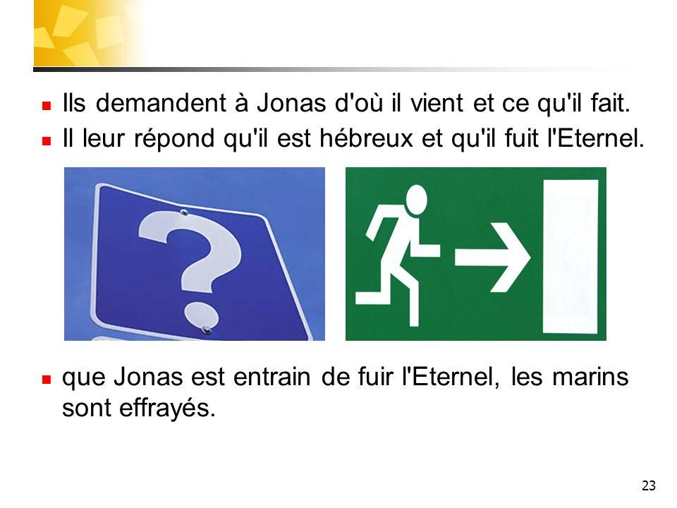 23 Ils demandent à Jonas d'où il vient et ce qu'il fait. Il leur répond qu'il est hébreux et qu'il fuit l'Eternel. que Jonas est entrain de fuir l'Ete