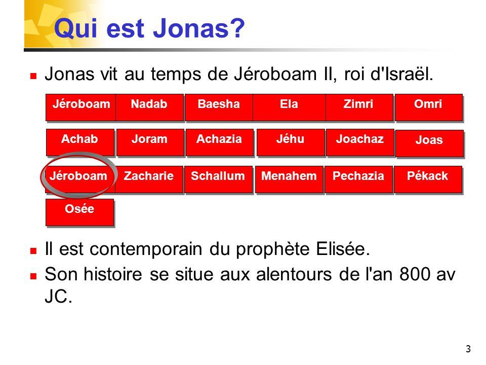 3 Qui est Jonas? Jonas vit au temps de Jéroboam II, roi d'Israël. Il est contemporain du prophète Elisée. Son histoire se situe aux alentours de l'an