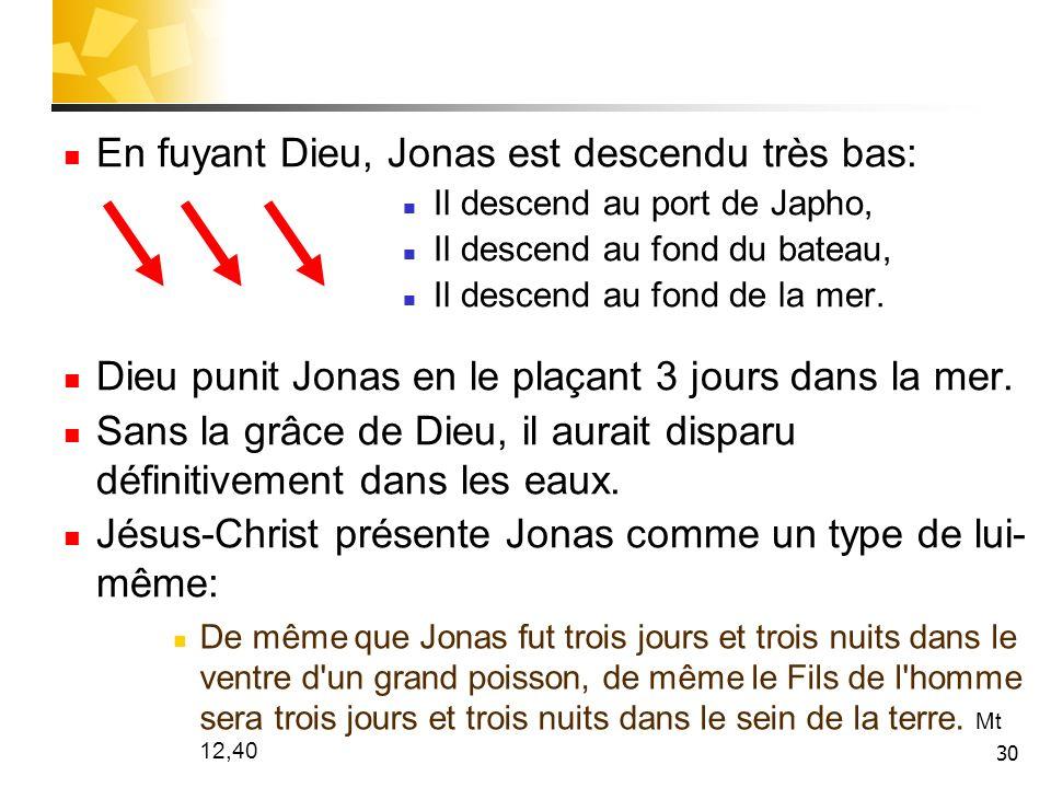30 En fuyant Dieu, Jonas est descendu très bas: Il descend au port de Japho, Il descend au fond du bateau, Il descend au fond de la mer. Dieu punit Jo