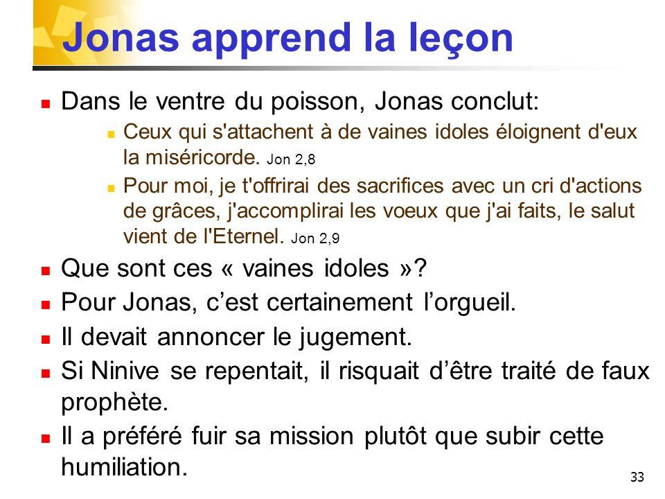 33 Jonas apprend la leçon Dans le ventre du poisson, Jonas conclut: Ceux qui s'attachent à de vaines idoles éloignent d'eux la miséricorde. Jon 2,8 Po