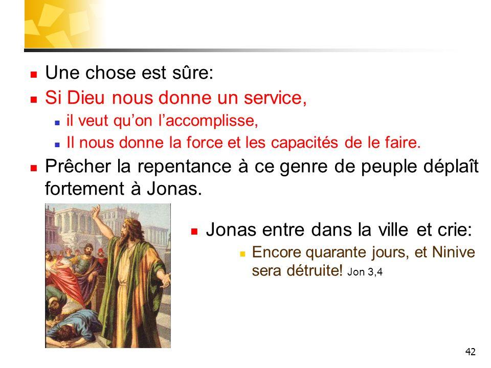 42 Une chose est sûre: Si Dieu nous donne un service, il veut quon laccomplisse, Il nous donne la force et les capacités de le faire. Prêcher la repen