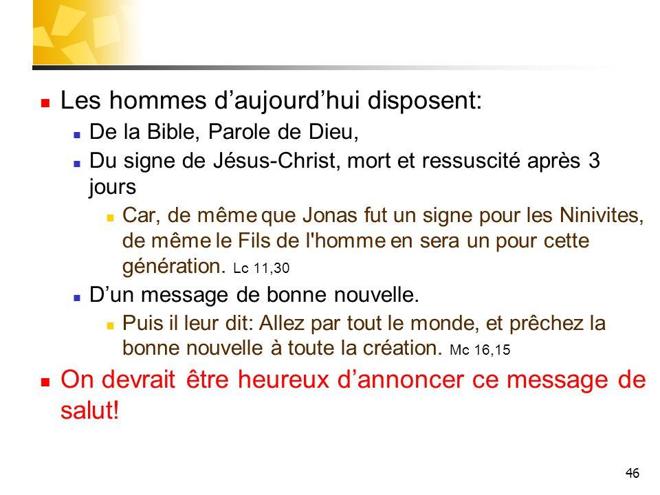 46 Les hommes daujourdhui disposent: De la Bible, Parole de Dieu, Du signe de Jésus-Christ, mort et ressuscité après 3 jours Car, de même que Jonas fu