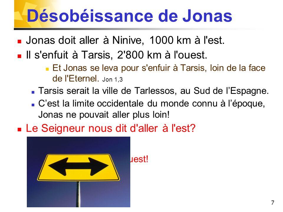 7 Désobéissance de Jonas Jonas doit aller à Ninive, 1000 km à l'est. Il s'enfuit à Tarsis, 2'800 km à l'ouest. Et Jonas se leva pour s'enfuir à Tarsis