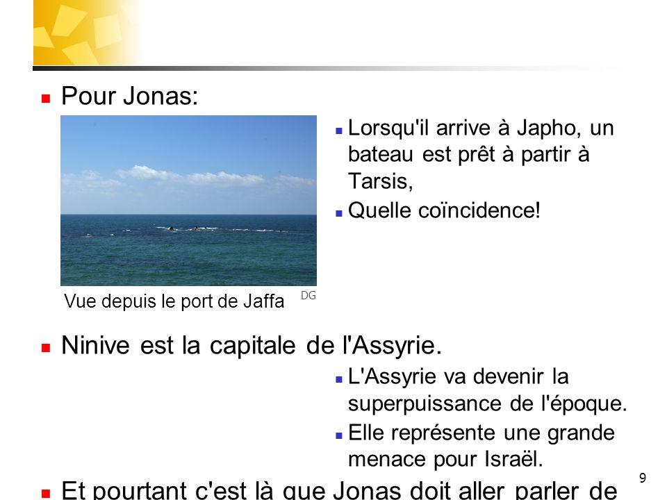 9 Pour Jonas: Lorsqu'il arrive à Japho, un bateau est prêt à partir à Tarsis, Quelle coïncidence! Ninive est la capitale de l'Assyrie. L'Assyrie va de