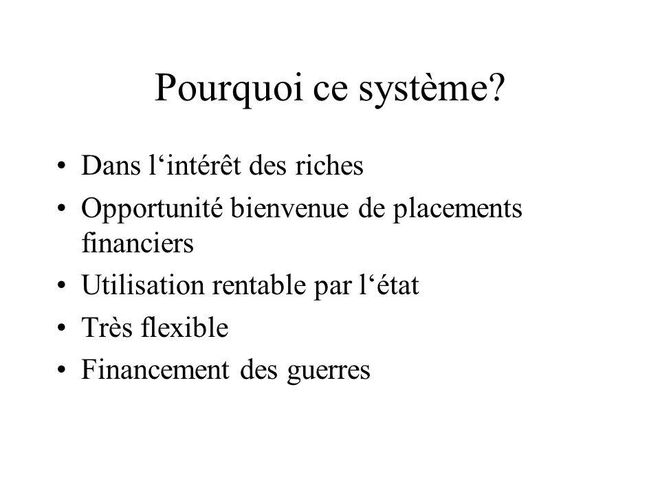 Pourquoi ce système? Dans lintérêt des riches Opportunité bienvenue de placements financiers Utilisation rentable par létat Très flexible Financement