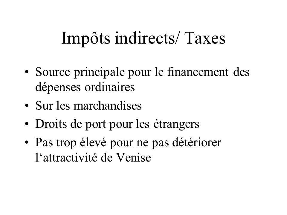 Impôts indirects/ Taxes Source principale pour le financement des dépenses ordinaires Sur les marchandises Droits de port pour les étrangers Pas trop
