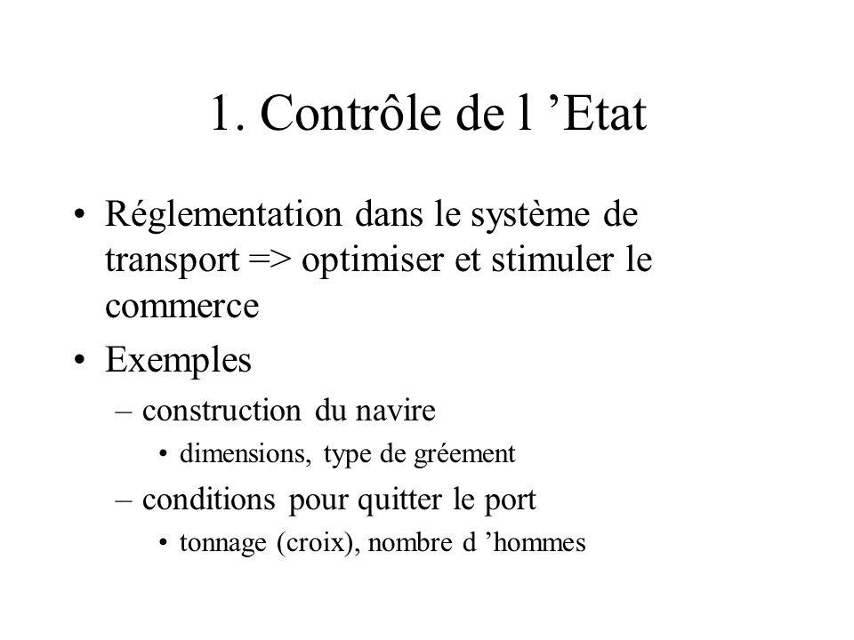 1. Contrôle de l Etat Réglementation dans le système de transport => optimiser et stimuler le commerce Exemples –construction du navire dimensions, ty