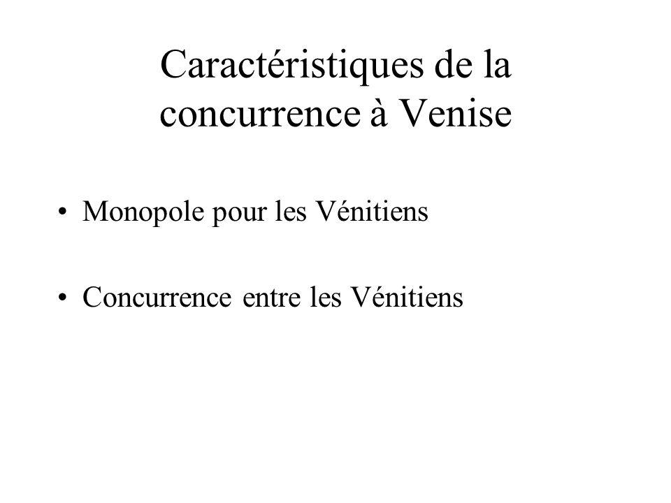 Caractéristiques de la concurrence à Venise Monopole pour les Vénitiens Concurrence entre les Vénitiens