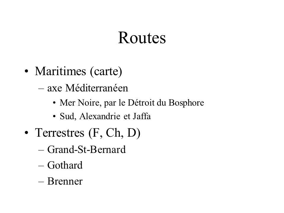 Routes Maritimes (carte) –axe Méditerranéen Mer Noire, par le Détroit du Bosphore Sud, Alexandrie et Jaffa Terrestres (F, Ch, D) –Grand-St-Bernard –Go