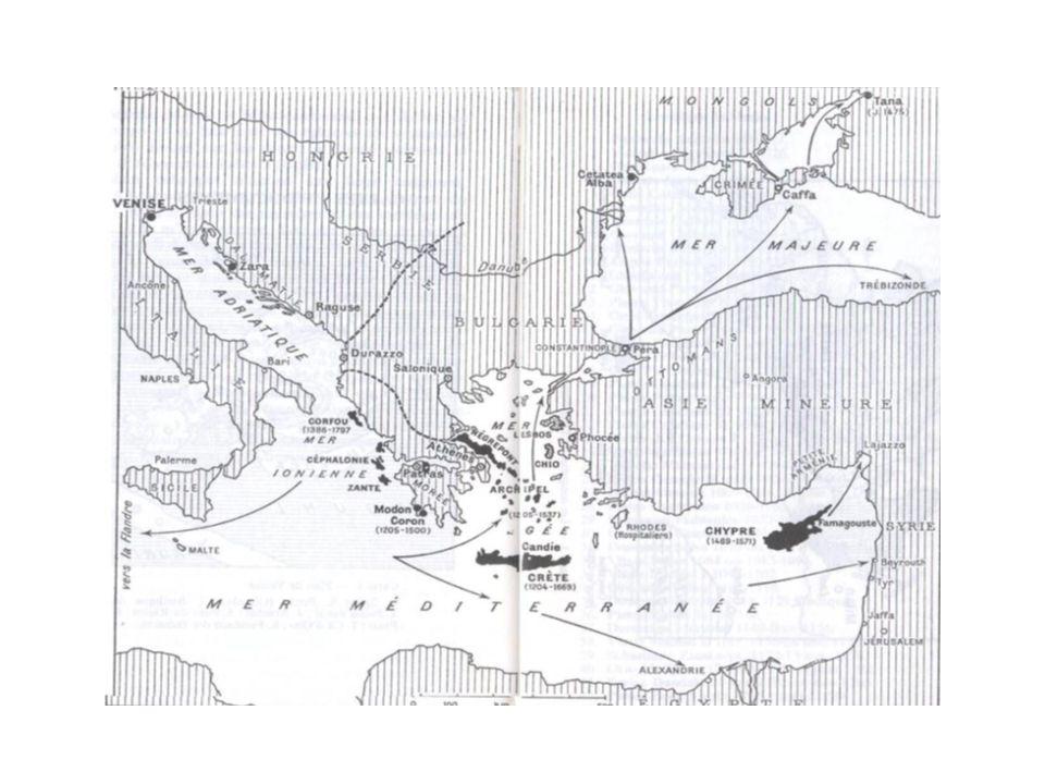 Commerce Volume annuel des échanges –13ème: 3000 à 5000 t de fret –16ème: 10000 à 12000 t Rialto –place financière de Venise –transaction Produits