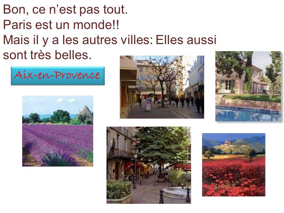 Bon, ce nest pas tout. Paris est un monde!! Mais il y a les autres villes: Elles aussi sont très belles. Aix-en-Provence