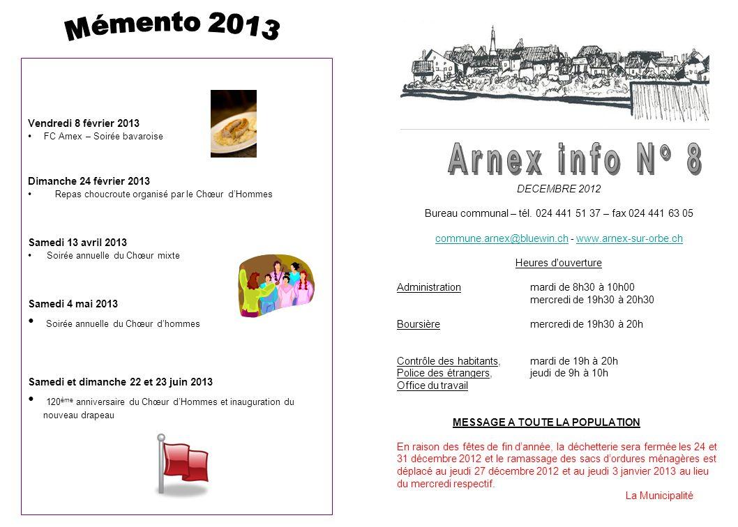 DECEMBRE 2012 Bureau communal – tél.