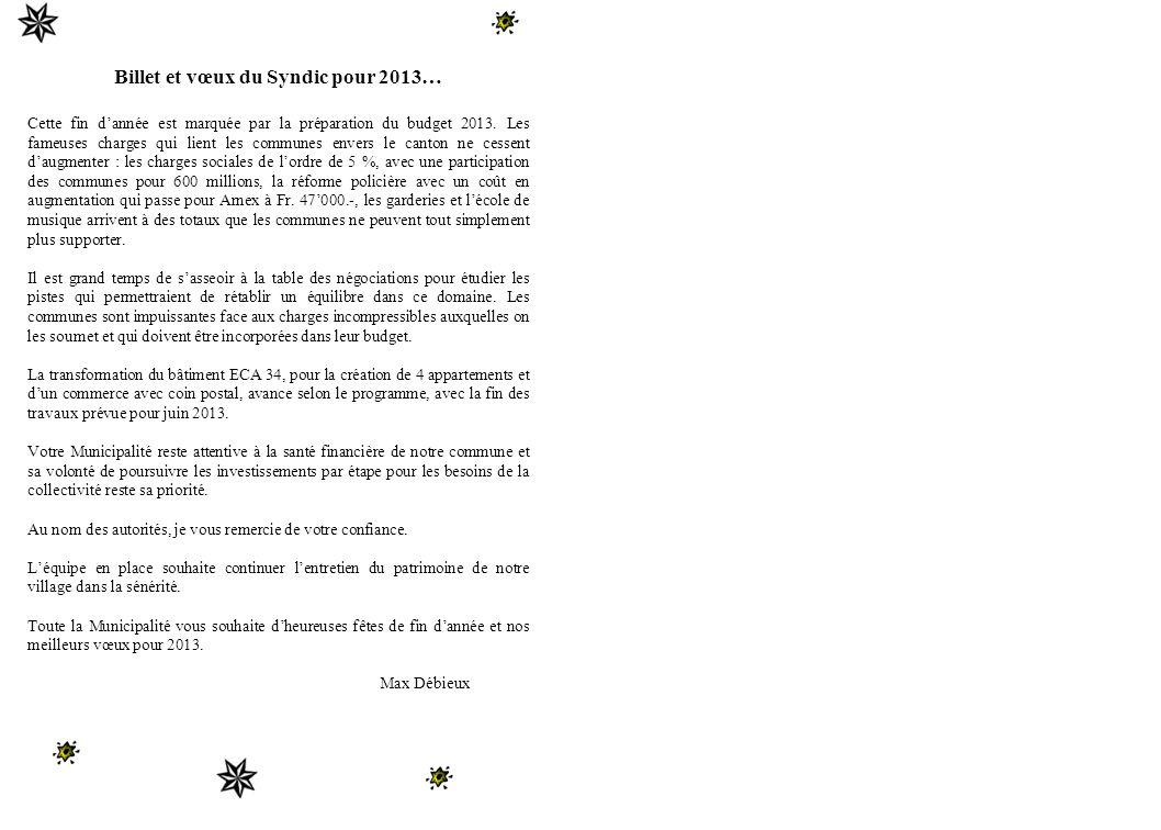 Billet et vœux du Syndic pour 2013… Cette fin dannée est marquée par la préparation du budget 2013.