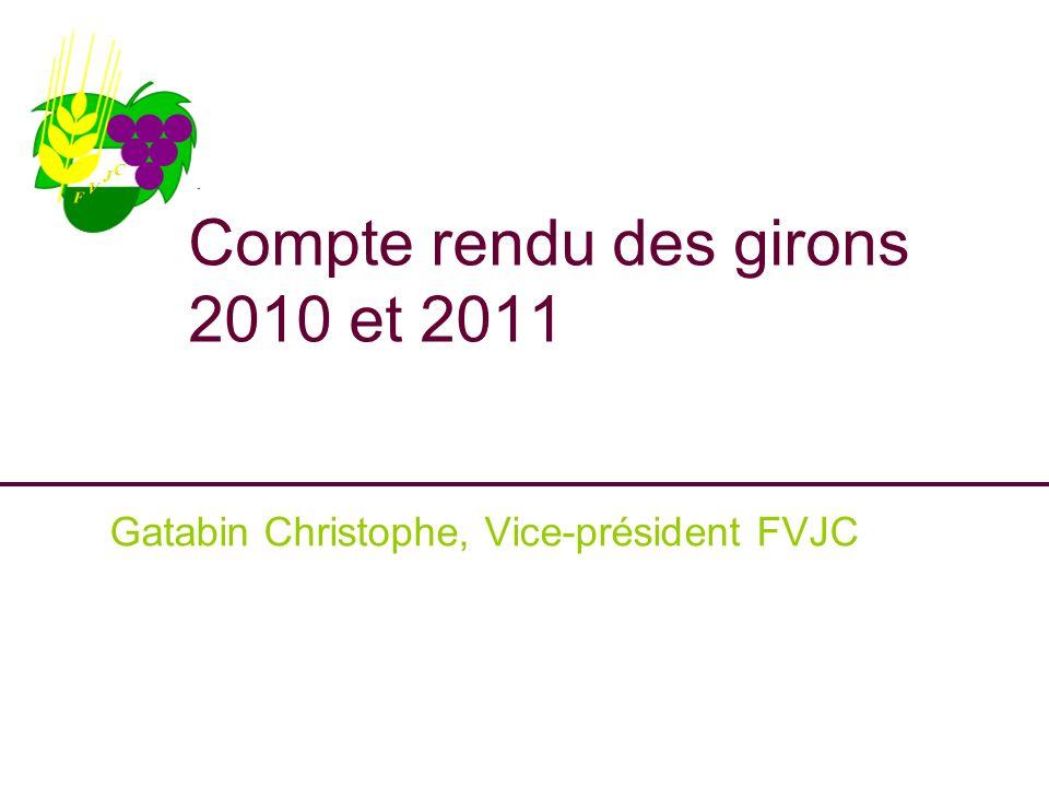 Compte rendu des girons 2010 et 2011 Gatabin Christophe, Vice-président FVJC
