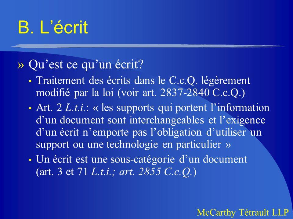 McCarthy Tétrault LLP B.Lécrit » Quest ce quun écrit.