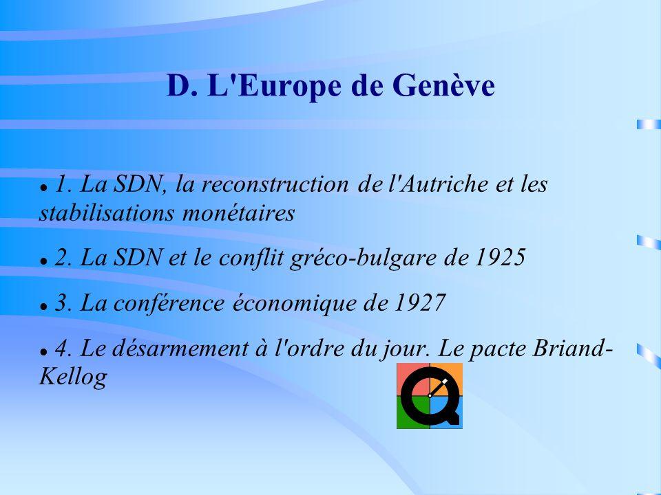 D. L'Europe de Genève 1. La SDN, la reconstruction de l'Autriche et les stabilisations monétaires 2. La SDN et le conflit gréco-bulgare de 1925 3. La