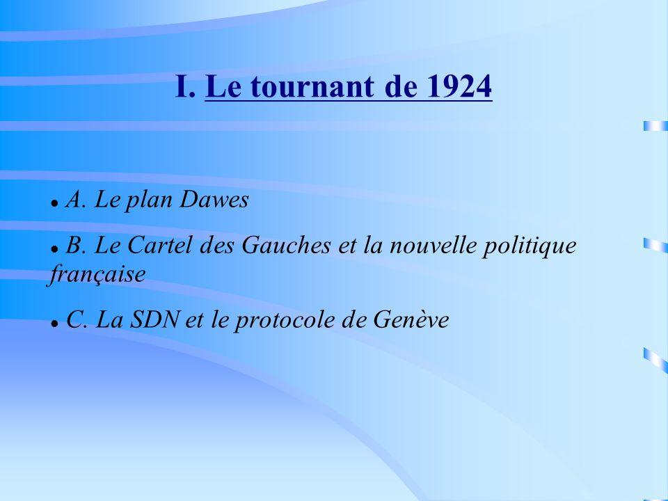 I. Le tournant de 1924 A. Le plan Dawes B. Le Cartel des Gauches et la nouvelle politique française C. La SDN et le protocole de Genève