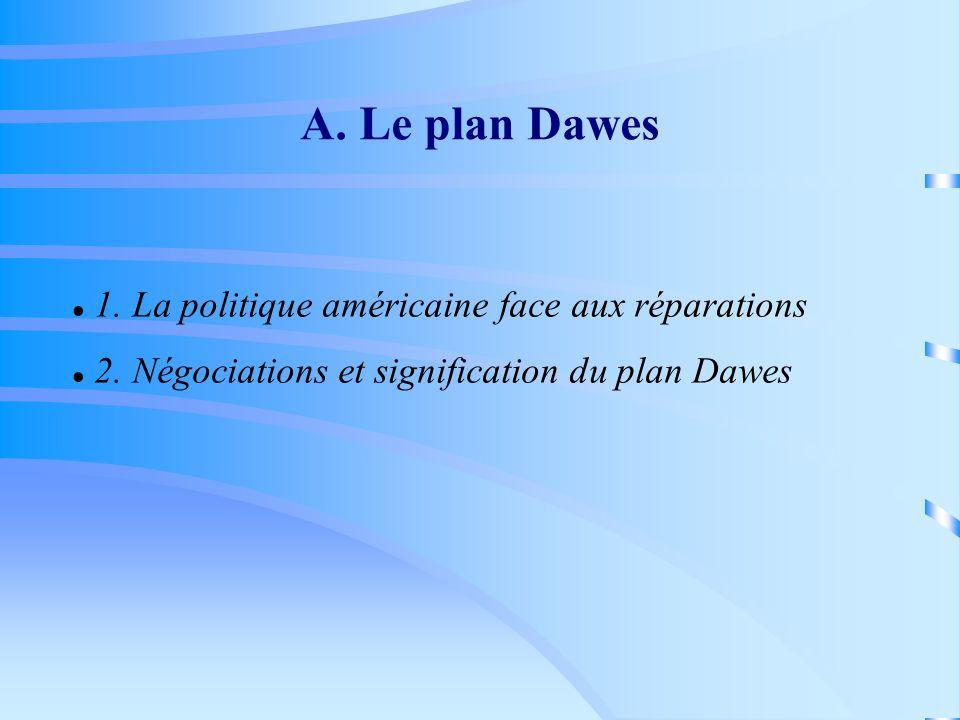 A. Le plan Dawes 1. La politique américaine face aux réparations 2. Négociations et signification du plan Dawes