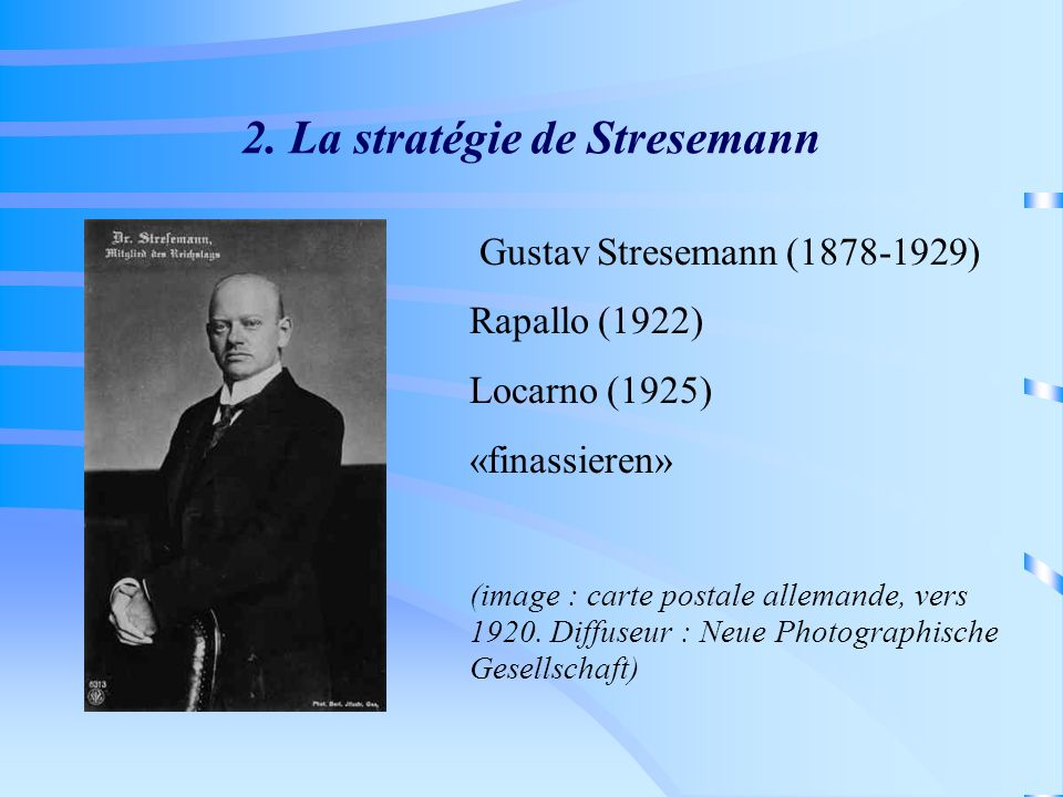 2. La stratégie de Stresemann Gustav Stresemann (1878-1929) Rapallo (1922) Locarno (1925) «finassieren» (image : carte postale allemande, vers 1920. D
