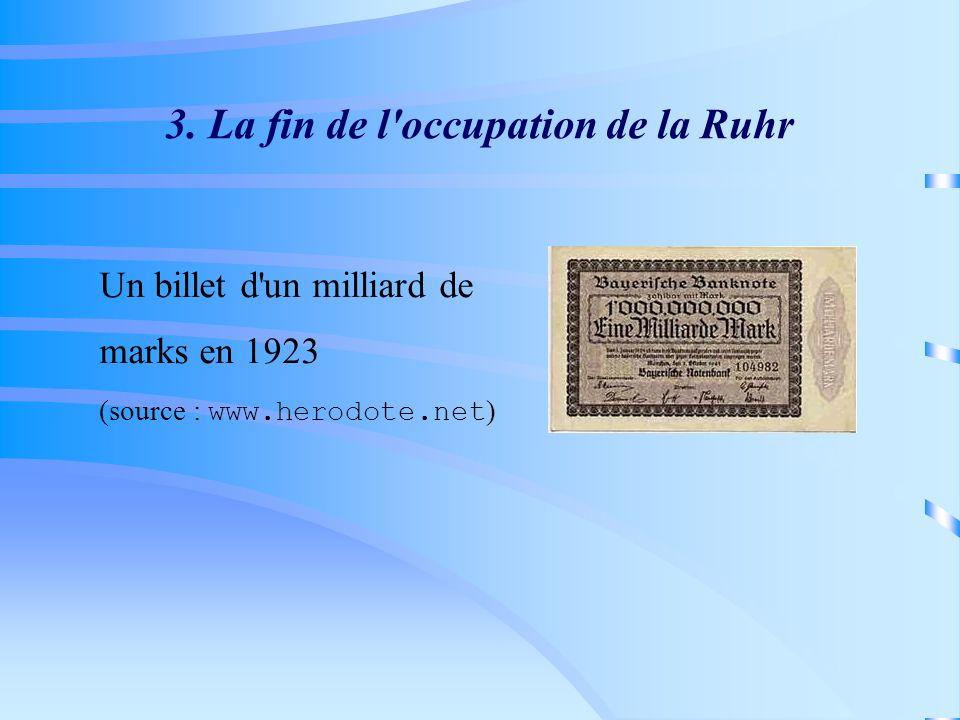 3. La fin de l'occupation de la Ruhr Un billet d'un milliard de marks en 1923 (source : www.herodote.net )