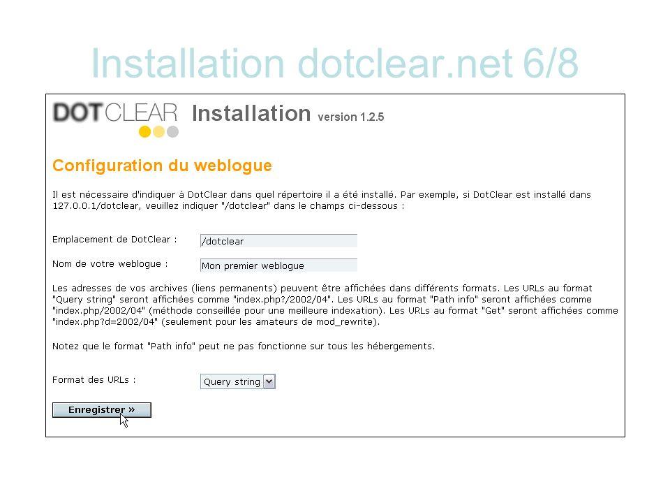 Installation dotclear.net 6/8