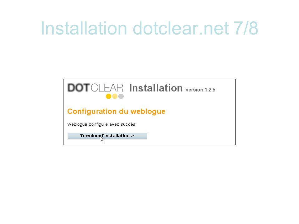 Installation dotclear.net 7/8