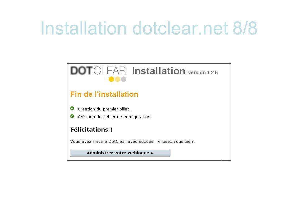 Installation dotclear.net 8/8