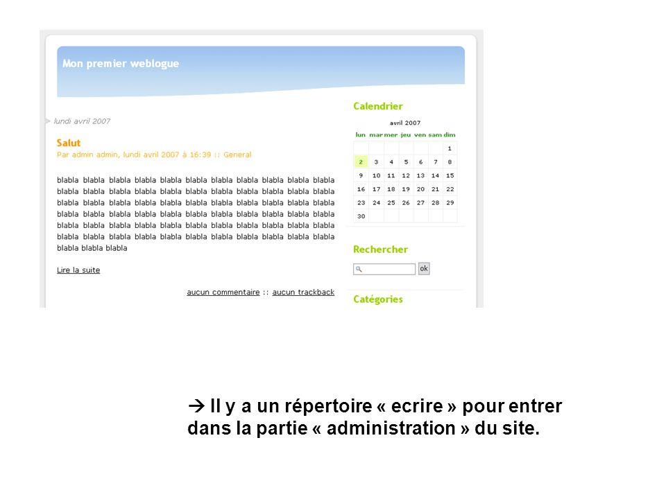 Il y a un répertoire « ecrire » pour entrer dans la partie « administration » du site.