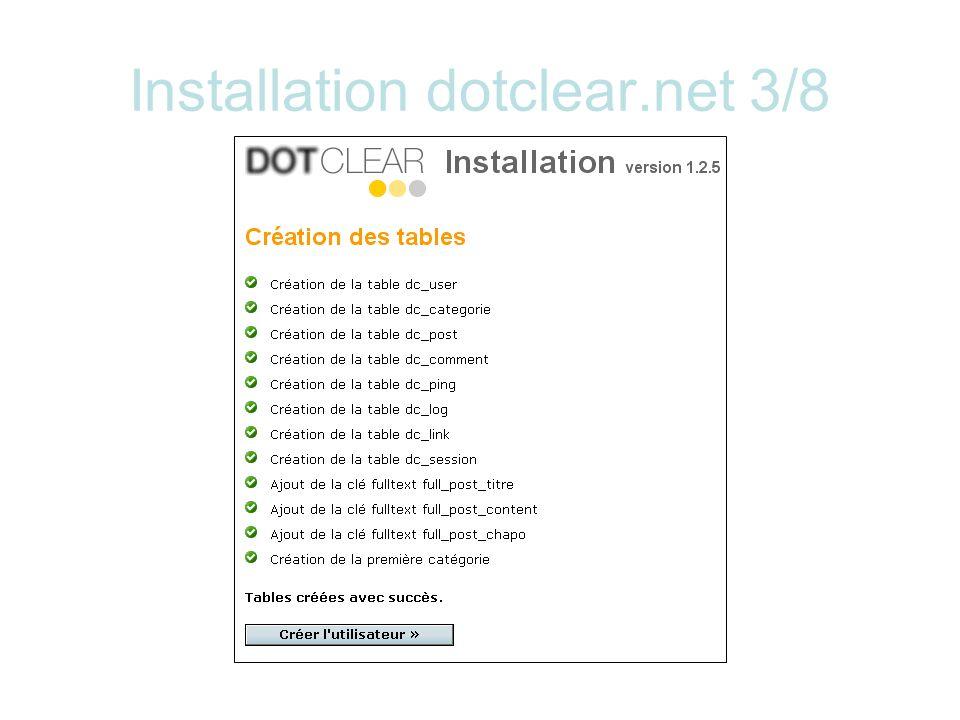 Installation dotclear.net 3/8