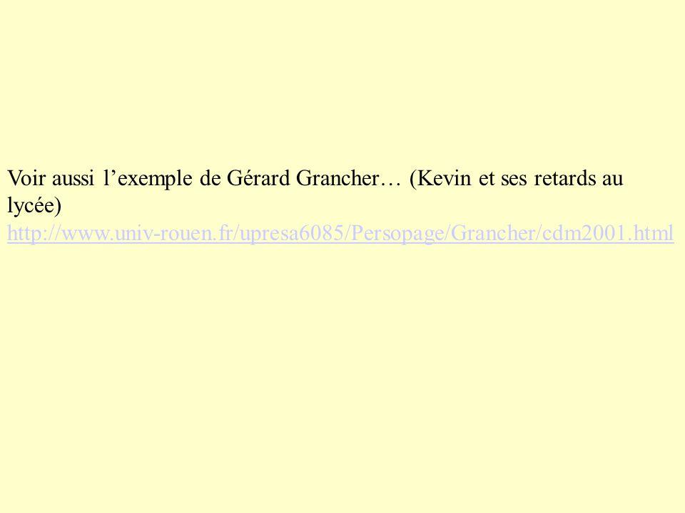 Voir aussi lexemple de Gérard Grancher… (Kevin et ses retards au lycée) http://www.univ-rouen.fr/upresa6085/Persopage/Grancher/cdm2001.html http://www