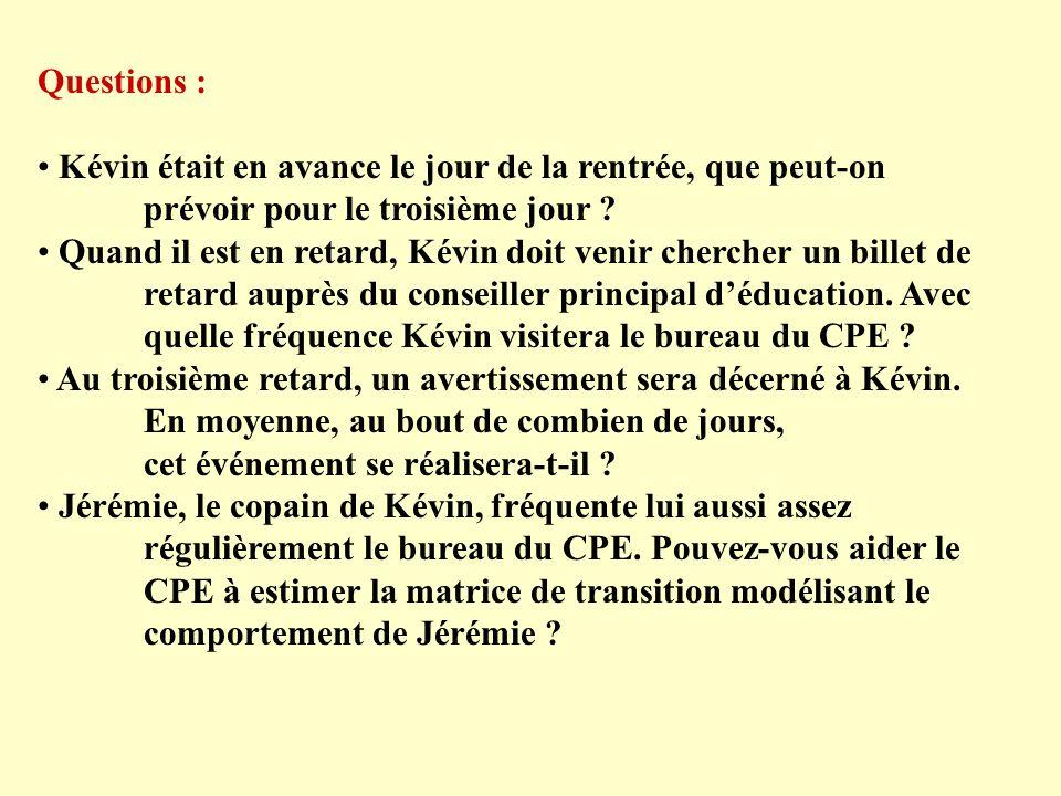 Questions : Kévin était en avance le jour de la rentrée, que peut-on prévoir pour le troisième jour .