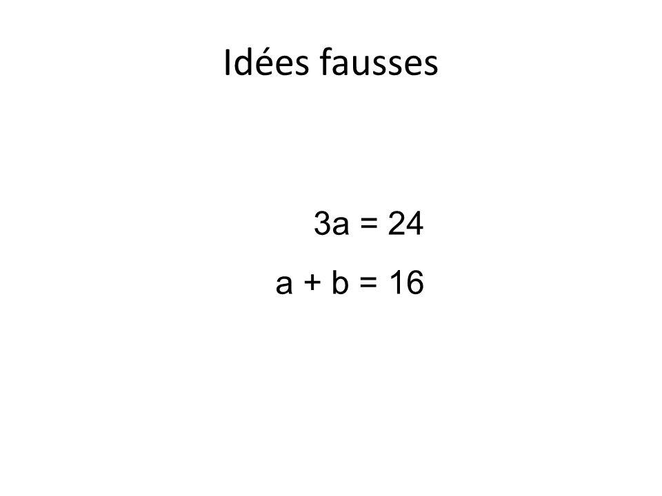 Idées fausses 3a = 24 a + b = 16