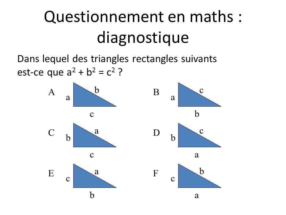 Questionnement en maths : diagnostique Dans lequel des triangles rectangles suivants est-ce que a 2 + b 2 = c 2 ? A a c b C b c a E c b a B a b c D b