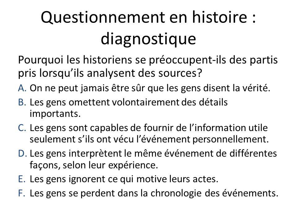 Questionnement en histoire : diagnostique Pourquoi les historiens se préoccupent-ils des partis pris lorsquils analysent des sources? A.On ne peut jam