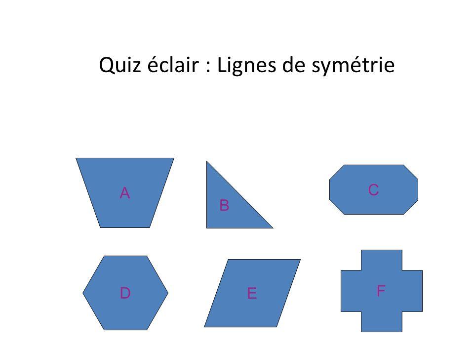 Quiz éclair : Lignes de symétrie A B C D E F