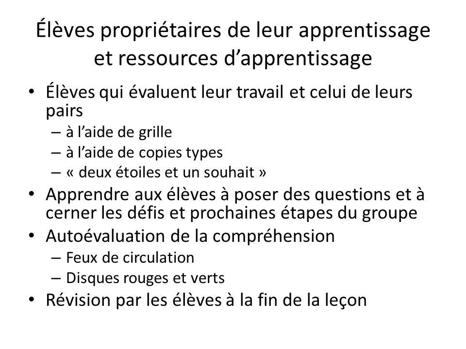 Élèves propriétaires de leur apprentissage et ressources dapprentissage Élèves qui évaluent leur travail et celui de leurs pairs – à laide de grille –