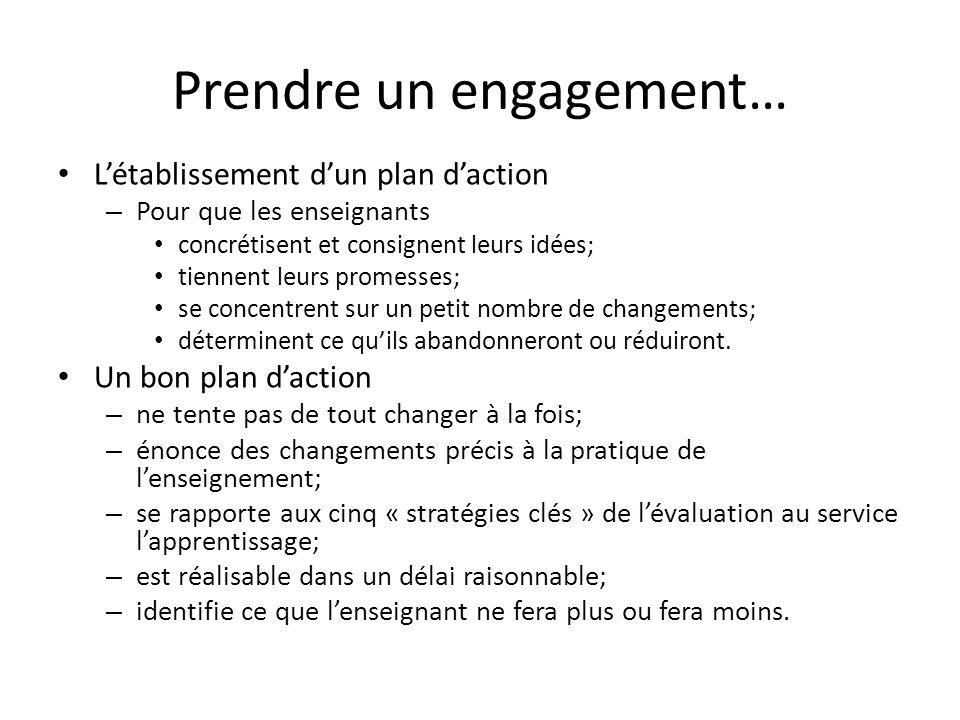 Prendre un engagement… Létablissement dun plan daction – Pour que les enseignants concrétisent et consignent leurs idées; tiennent leurs promesses; se