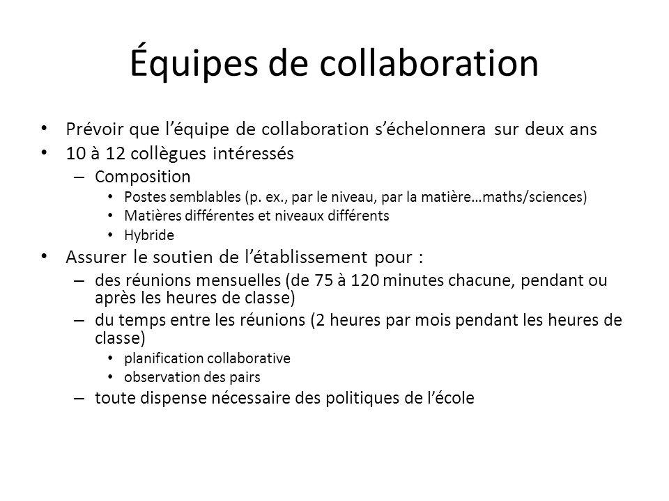 Équipes de collaboration Prévoir que léquipe de collaboration séchelonnera sur deux ans 10 à 12 collègues intéressés – Composition Postes semblables (