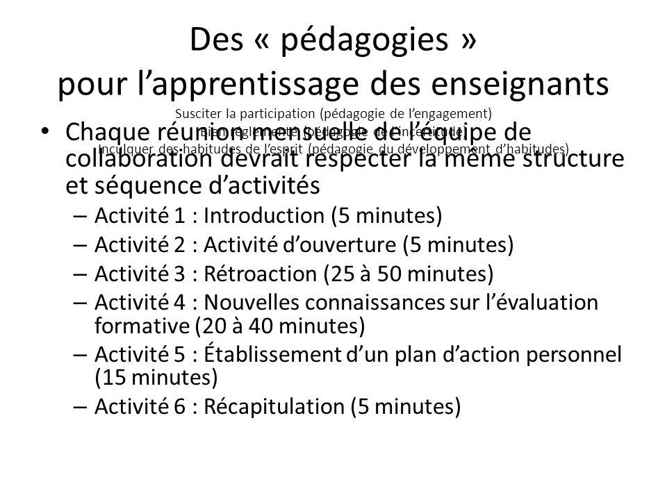 Des « pédagogies » pour lapprentissage des enseignants Susciter la participation (pédagogie de lengagement) Bien réglementé (pédagogie de lincertitude
