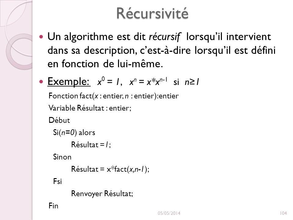 Récursivité Un algorithme est dit récursif lorsquil intervient dans sa description, cest-à-dire lorsquil est défini en fonction de lui-même. Exemple: