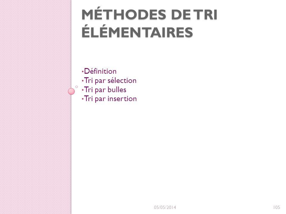 MÉTHODES DE TRI ÉLÉMENTAIRES Définition Tri par sélection Tri par bulles Tri par insertion 05/05/2014105
