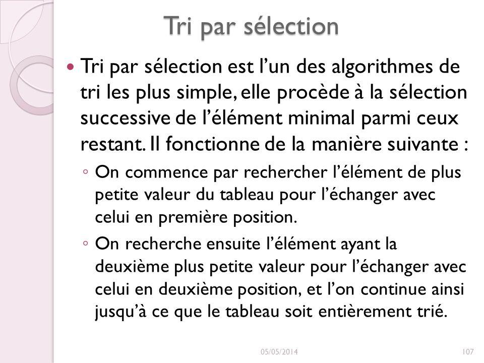 Tri par sélection Tri par sélection est lun des algorithmes de tri les plus simple, elle procède à la sélection successive de lélément minimal parmi c