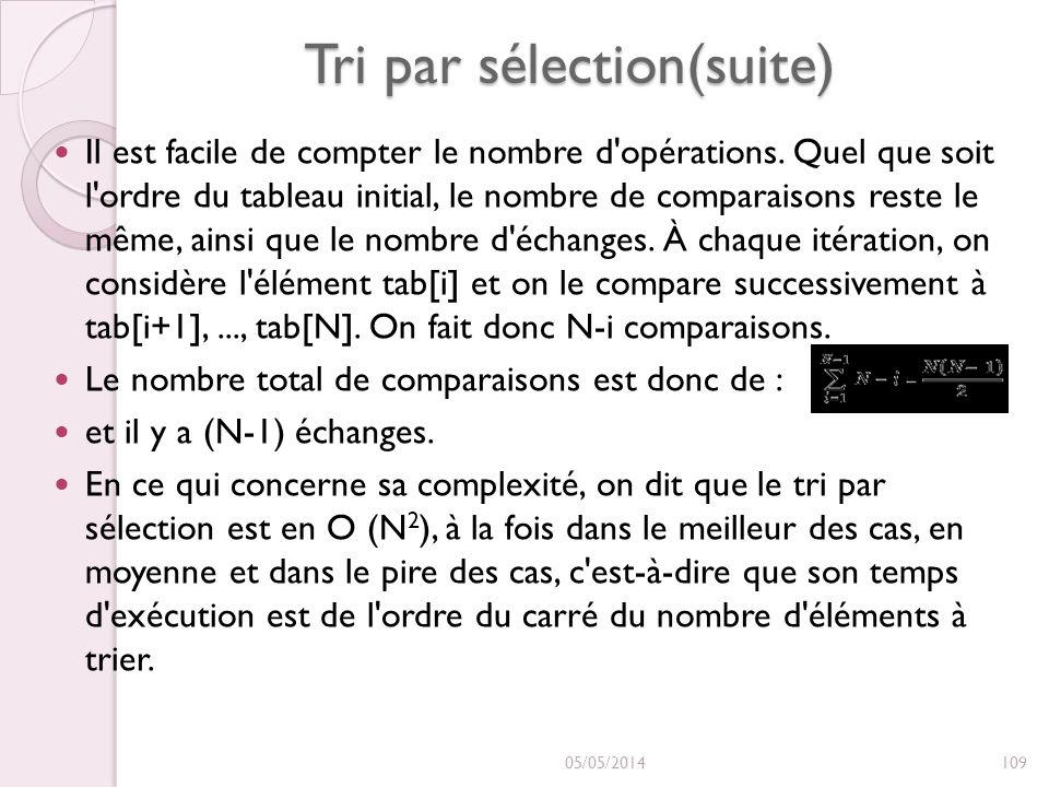 Tri par sélection(suite) Il est facile de compter le nombre d'opérations. Quel que soit l'ordre du tableau initial, le nombre de comparaisons reste le
