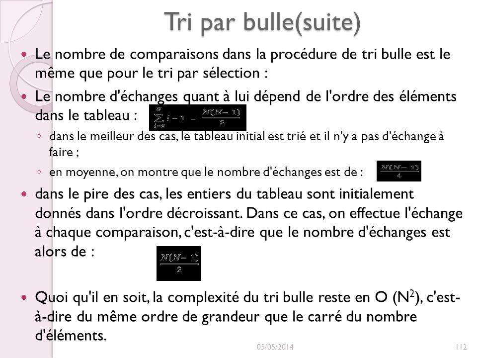 Tri par bulle(suite) Le nombre de comparaisons dans la procédure de tri bulle est le même que pour le tri par sélection : Le nombre d échanges quant à lui dépend de l ordre des éléments dans le tableau : dans le meilleur des cas, le tableau initial est trié et il n y a pas d échange à faire ; en moyenne, on montre que le nombre d échanges est de : dans le pire des cas, les entiers du tableau sont initialement donnés dans l ordre décroissant.